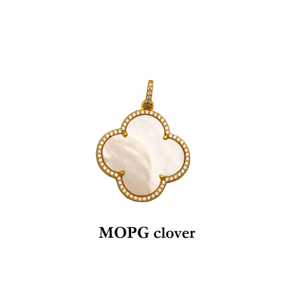 Mother of Pearl Sterling Silver gold plated Clover Pendant with cubic zirconias