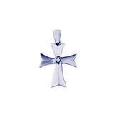 White Gold Diamond Cross with One Round Diamond