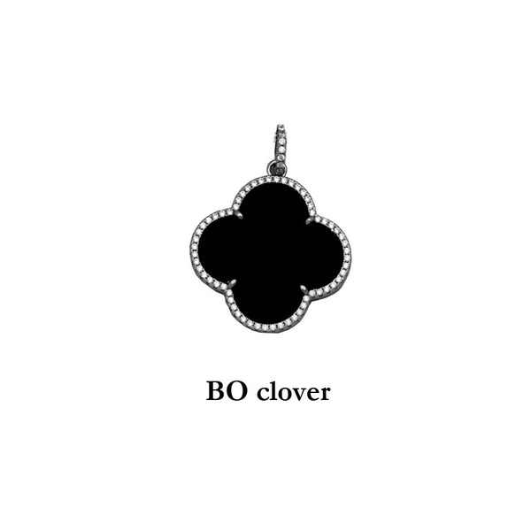 Sterling Silver Black Onyx Gold plated Clover Pendant with cubic zirconias