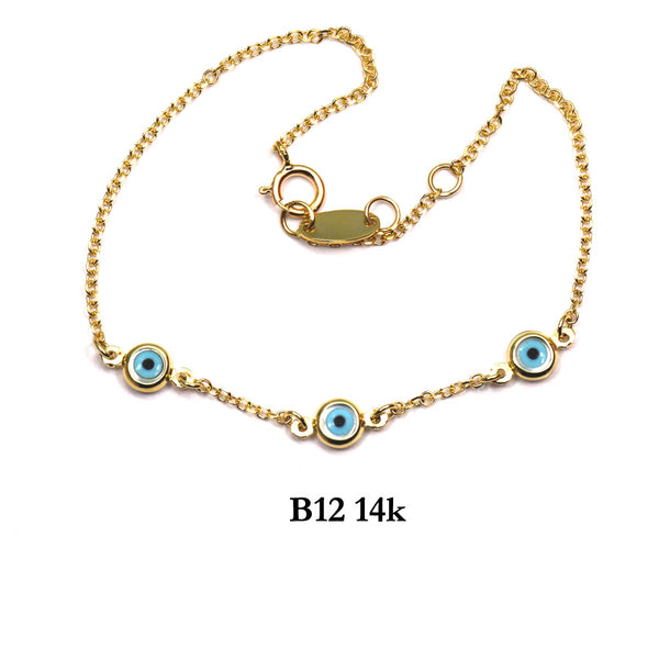 Bracelet- 14K Solid Yellow Gold chain bracelet with evil eyes