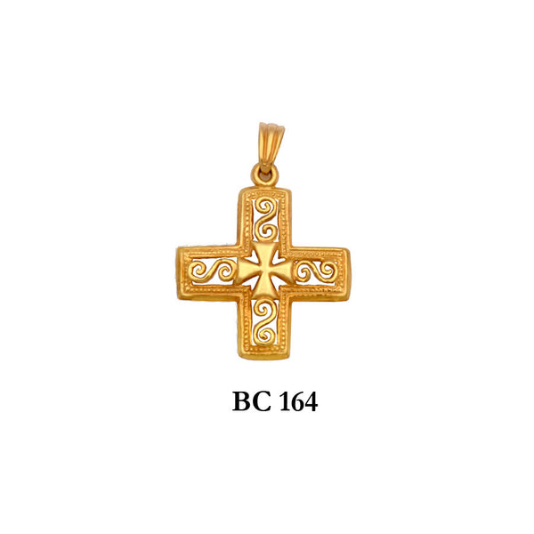 14K byzantine style ornated solid gold cross pendant