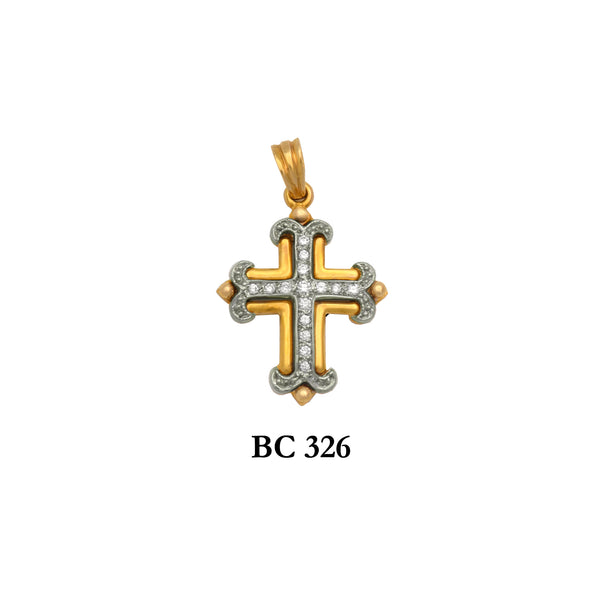 14K byzantine diamond designers 2-piece solid gold cross pendant