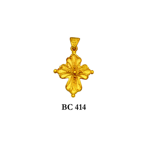 14K byzantine style ornated flattering solid gold cross pendant