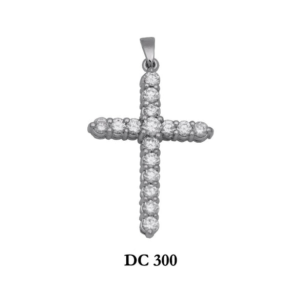 14K Solid gold diamond radiant cross pendant