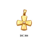 14K Solid gold diamond stylish polished cross pendant