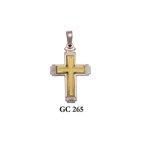 14K Solid gold textured yellow and white cross pendant