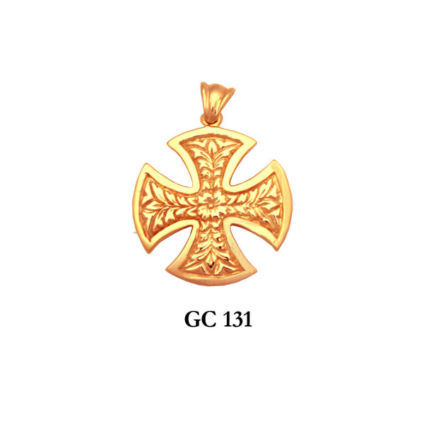 14K Solid gold flattering heavy cross pendant
