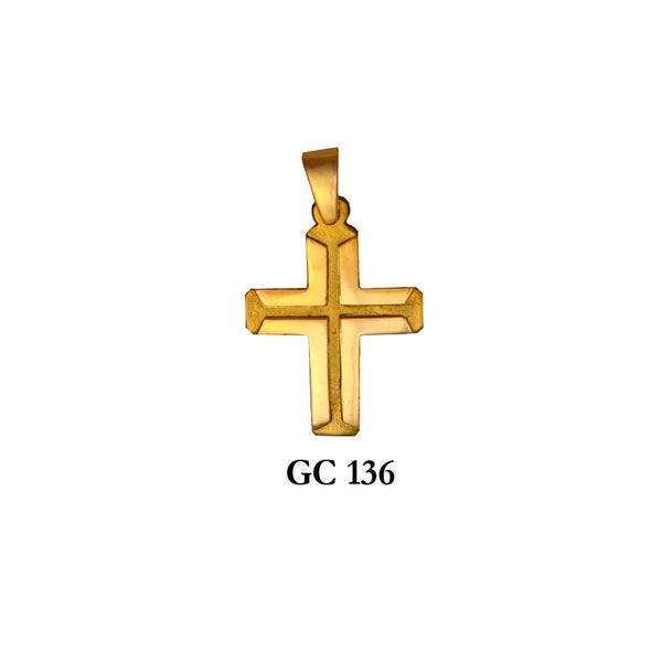 14K Solid gold detailed cross pendant