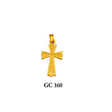 14K Solid gold textured cross pendant
