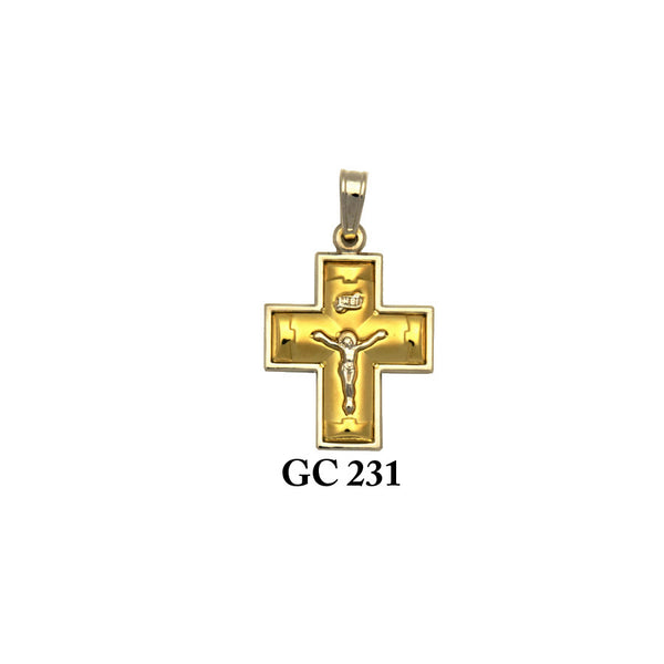 14K Solid gold glossy finish yellow and white crucifix cross pendant
