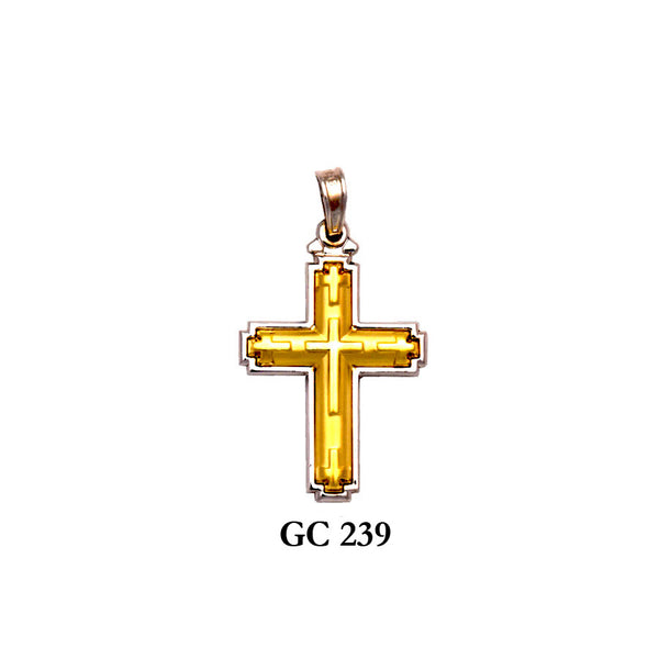 14K gold captivating glossy design cross pendant
