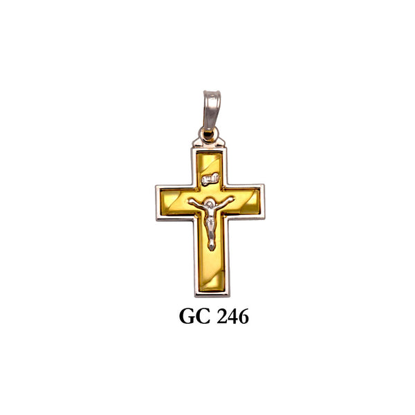 14K Solid gold yellow and white 2-piece crucifix cross pendant