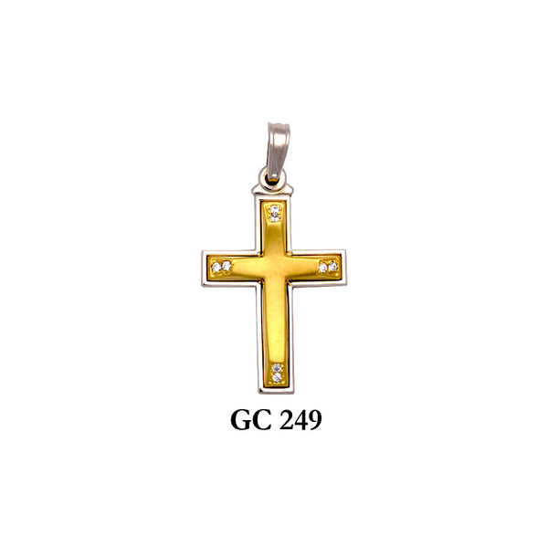 14K gold 2-piece satin finish cross pendant with CZ accents