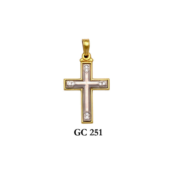 14K Solid gold yellow and white 2-piece CZ cross pendant