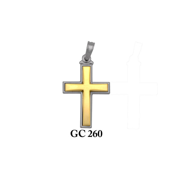 14K Solid gold yellow and white 2-piece elegant cross pendant