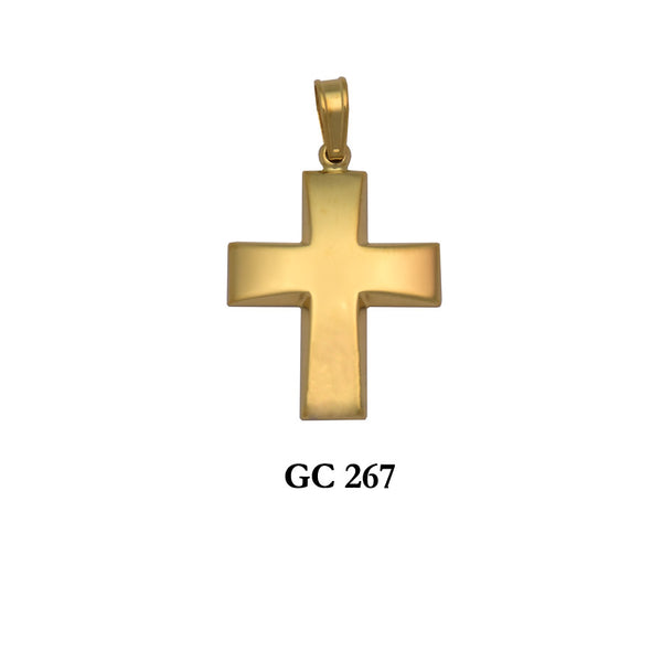 14K Gold timeless polished cross pendant