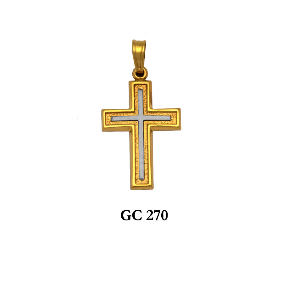 14K Yellow and White Gold simple cross pendant