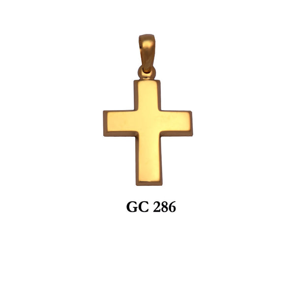 14K Solid  Yellow gold symmetrical polished cross pendant