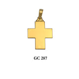 14K Solid Yellow gold symmetrical cross pendant