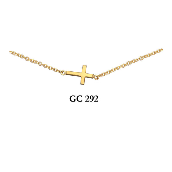 14K Solid Yellow gold sideways high polished modern cross necklace