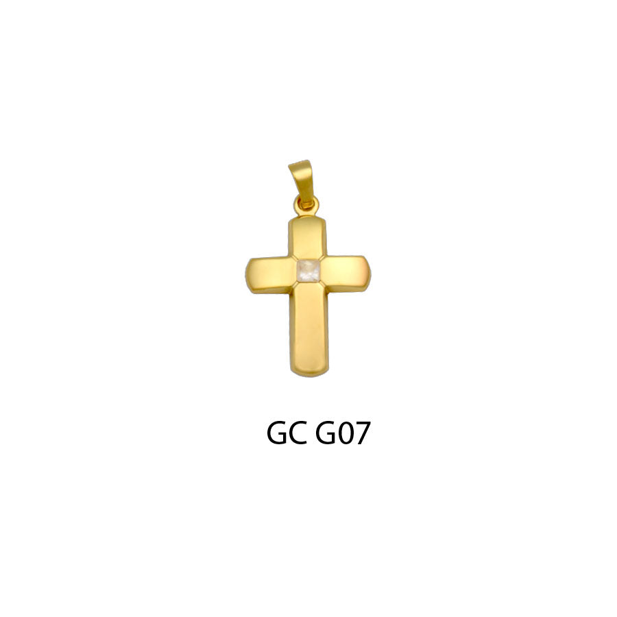 14K gold cross with CZ pendant