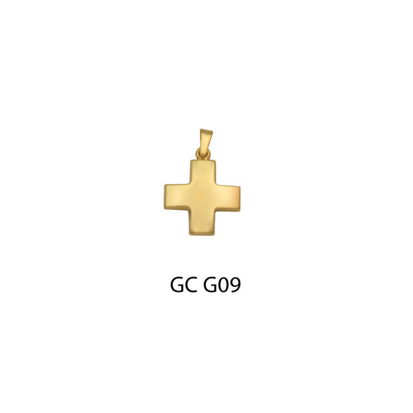 14K Gold square cross pendant