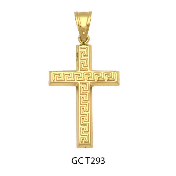 14K Gold greek key design cross pendant