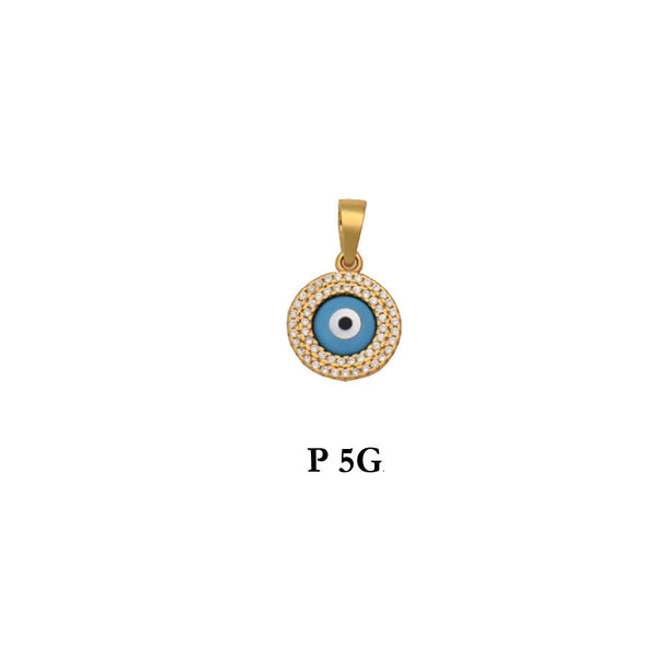 Sterling silver 925 gold plated evil eye round pendant with CZs