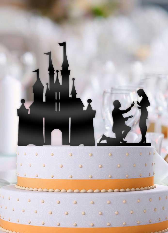 Proposing Couple with Castle 2 Piece Wedding Cake Topper - Bee3dgifts