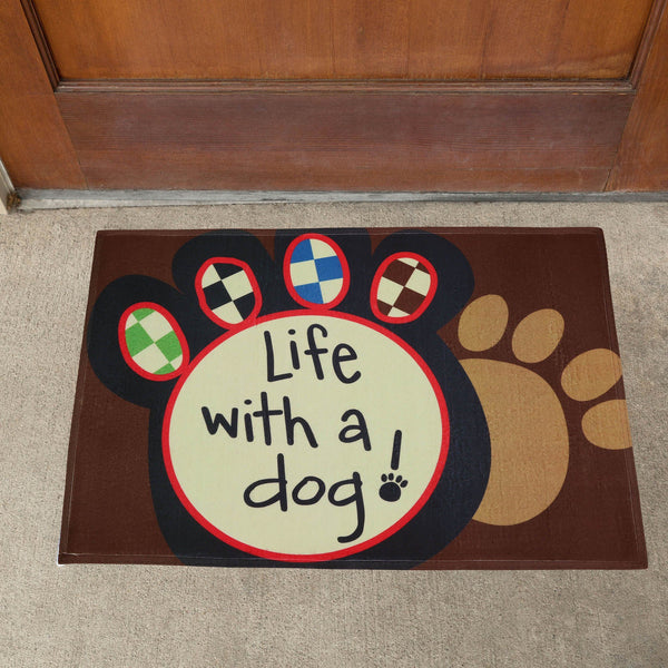 Life With A Dog Paw Print Door Mat