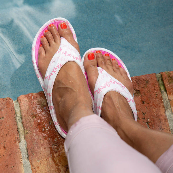 On The Town Pink Ribbon Flip Flops