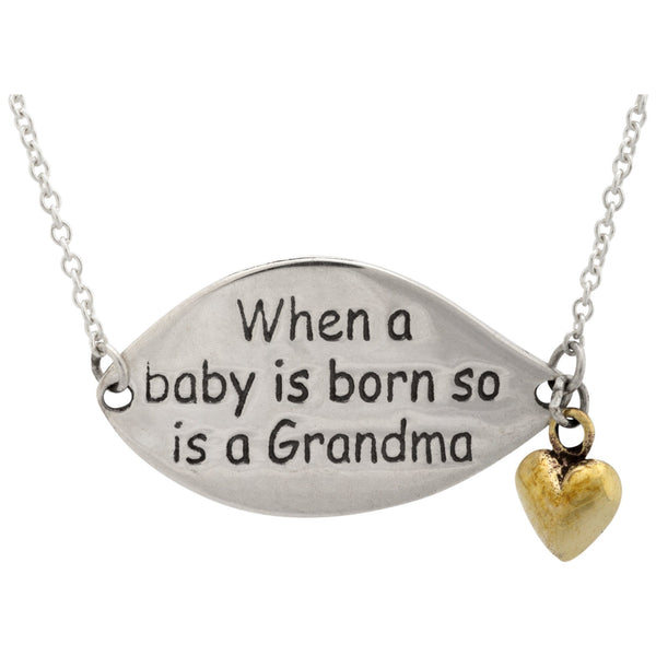 A Grandma Is Born Sterling Necklace