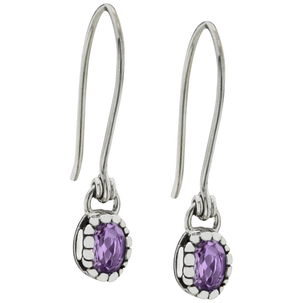 HSUS Sterling Paw & Amethyst Drop Earrings