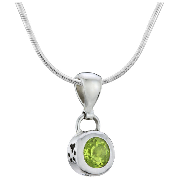 HSUS Sterling Paw & Peridot Necklace