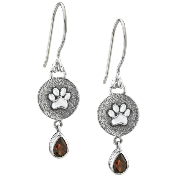HSUS Sterling Paw & Garnet Teardrop Earrings