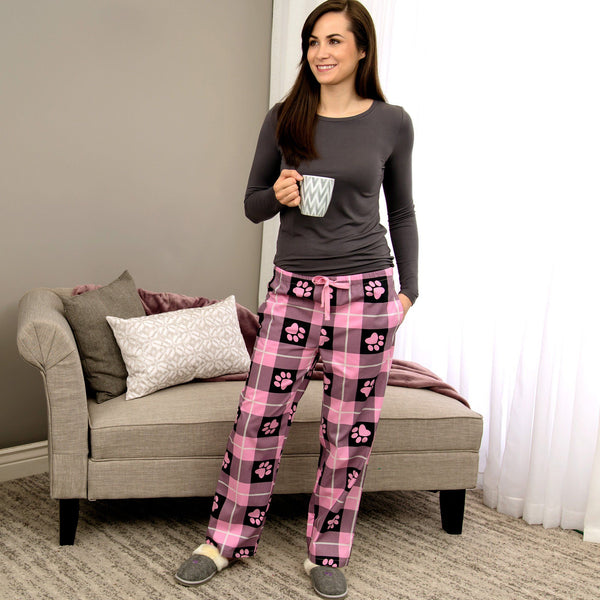 Lightweight Plaid Paw Lounge Pants