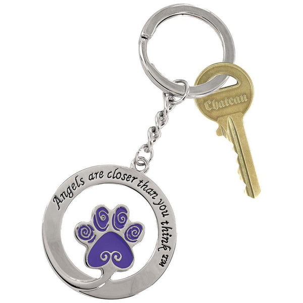 Angels Are Closer Than You Think™ Purple Paw Keychain