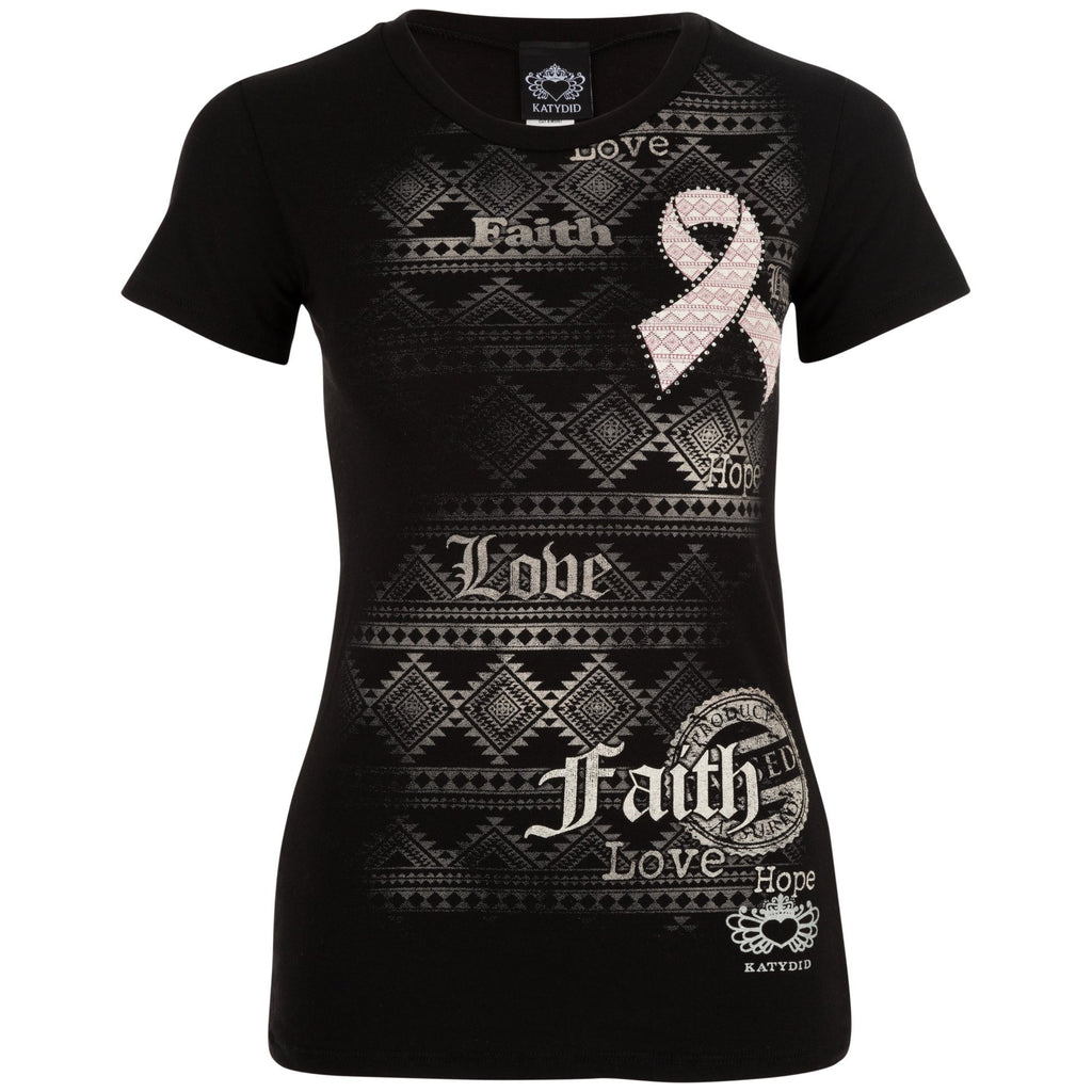 Aztec Patterned Hope Faith Love Pink Ribbon Tee