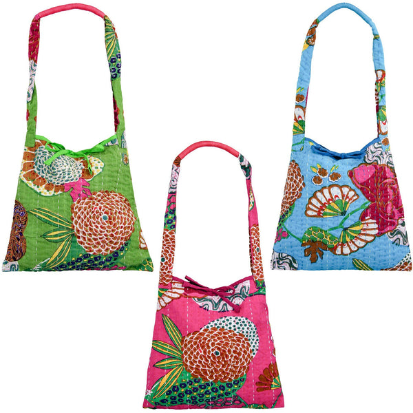 Bright Hand Stitched Kantha Hobo Bag