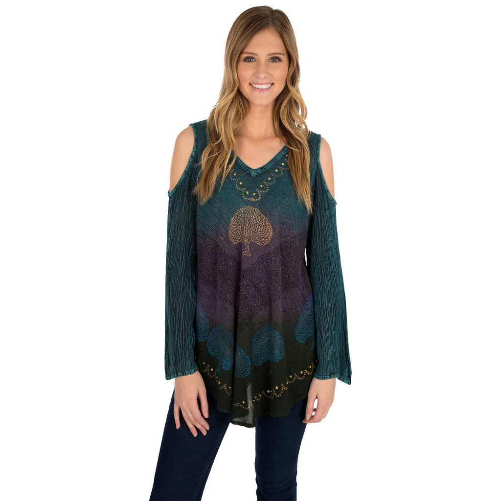 Deep Forest Long Sleeve Cold Shoulder Tunic