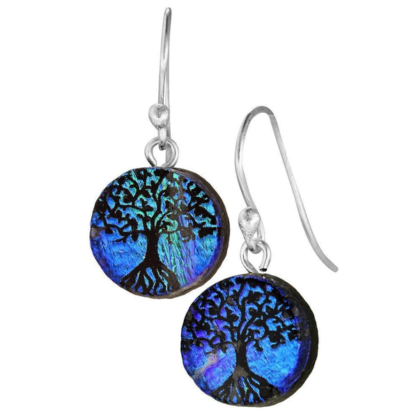 Dichroic Glass Tree Of Life Earrings