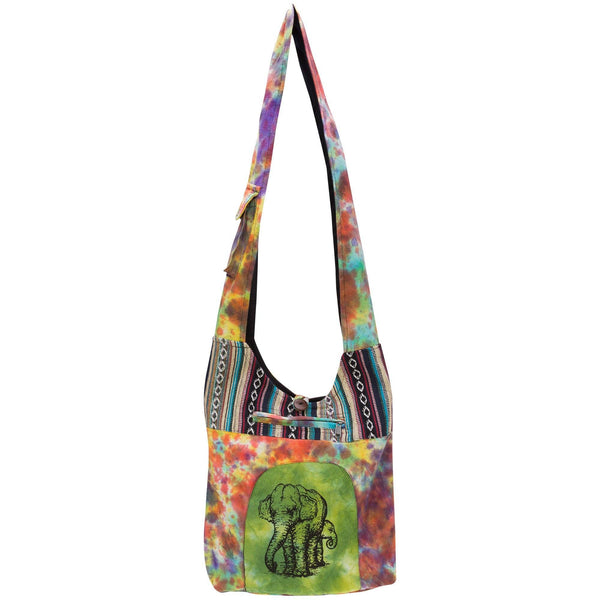 Elephant Under The Rainbow Hobo Bag