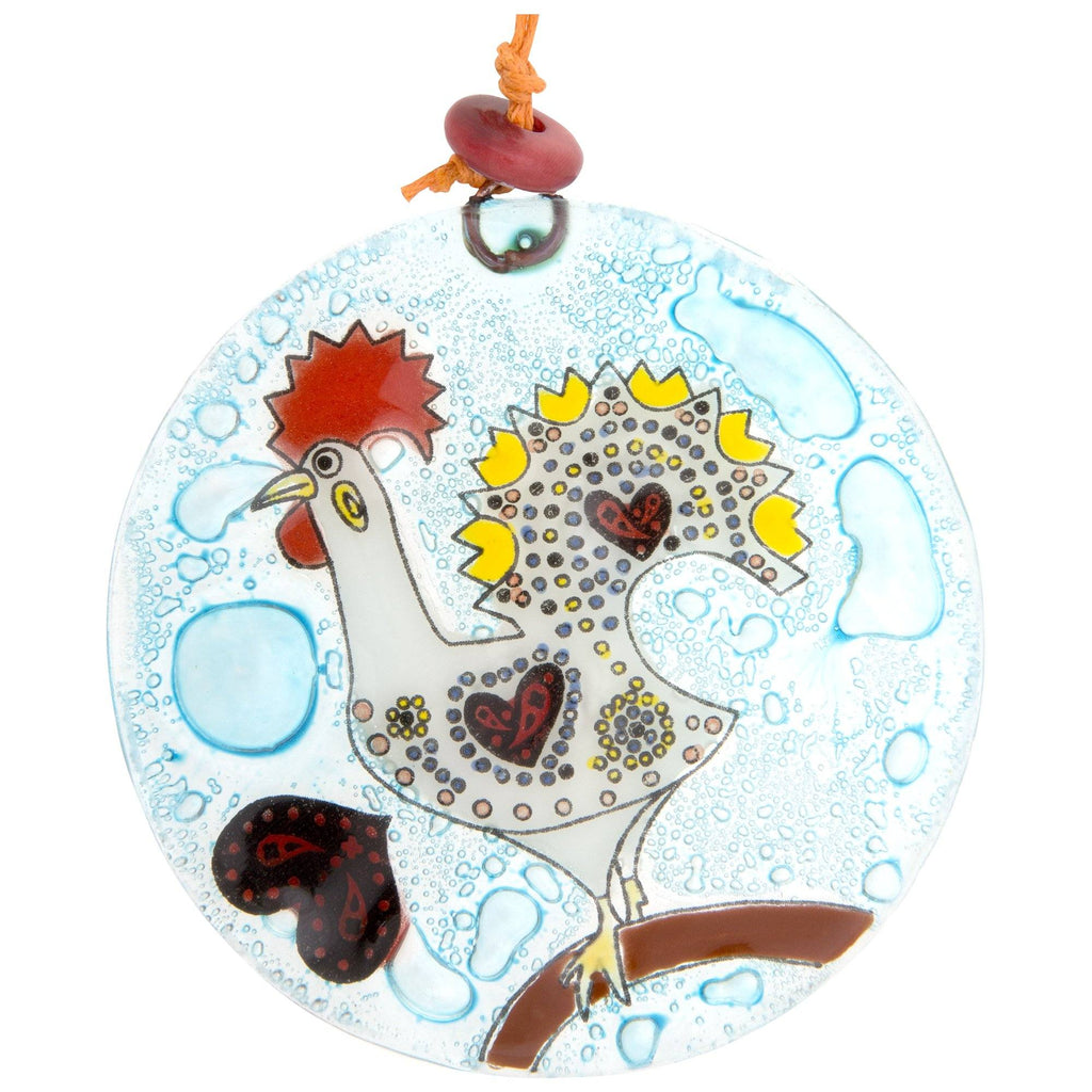Fun Rooster Recycled Glass Ornament