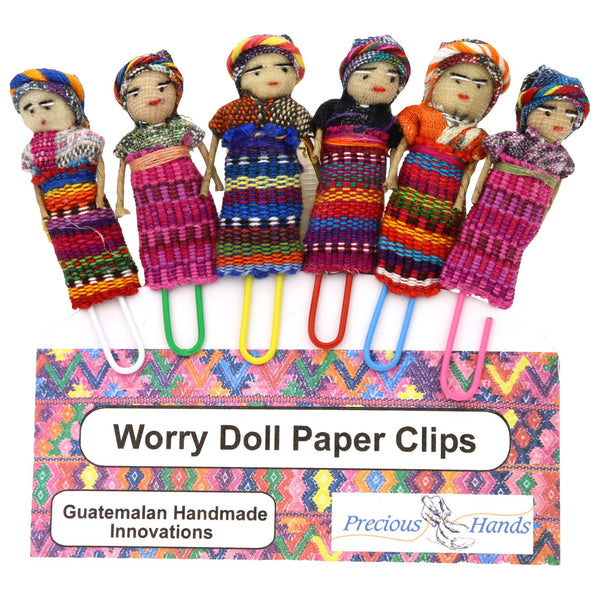 Guatemalan Worry Doll Paper Clips - Set Of 6