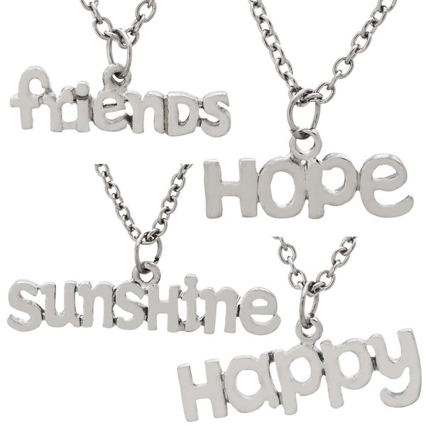 Inspirational Word Pewter Necklace