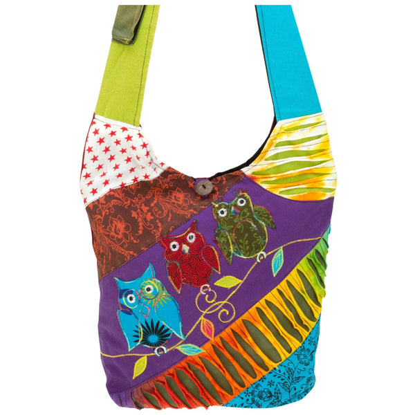 Patchwork Owl Hobo Bag