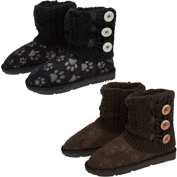 Paw Impression Mid Rise Knit Boots