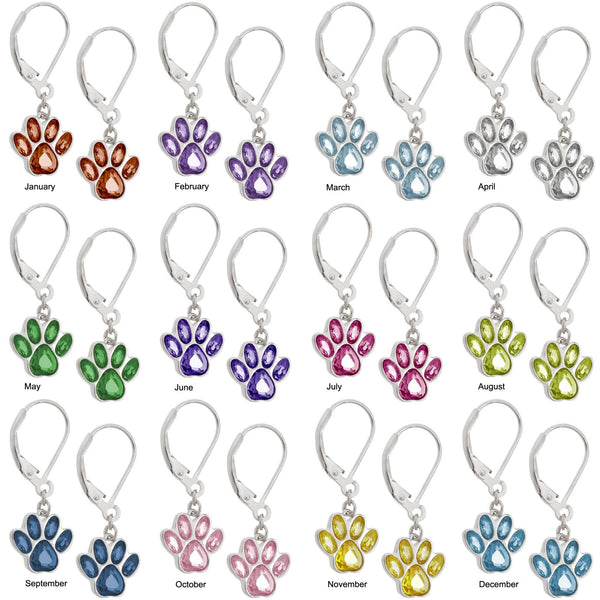Paw Print Birthstone Dangling Sterling Earrings