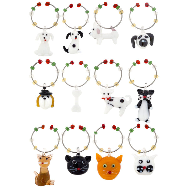 Pet Glass Wine Charms - Set Of 6
