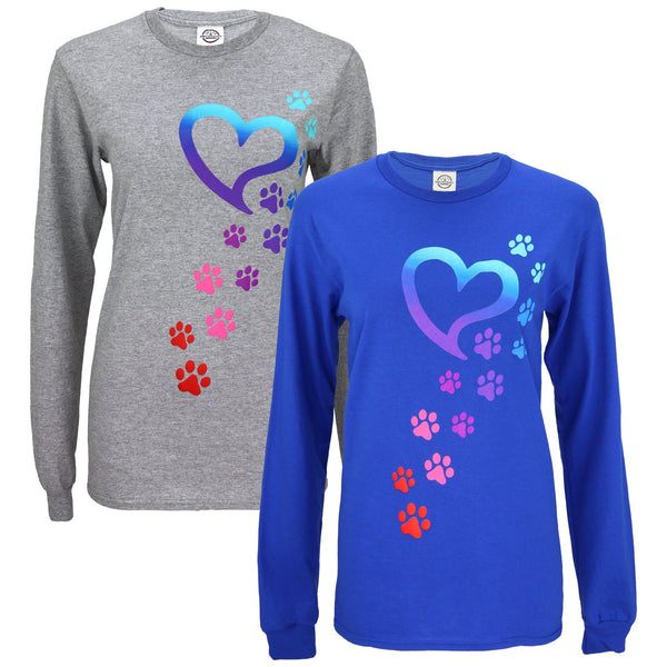 Rainbow Paws To My Heart Long Sleeve T-Shirt